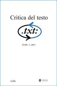 Critica del testo (2015) Vol. 18/1