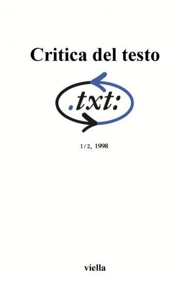 Critica del testo (1998) Vol. 1/2