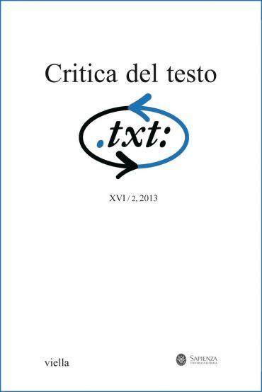 Critica del testo (2013) Vol. 16/2