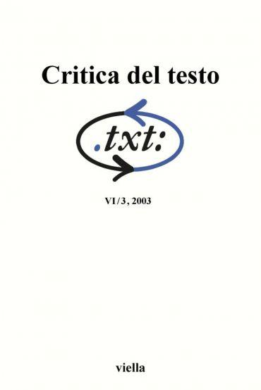 Critica del testo (2003) Vol. 6/3