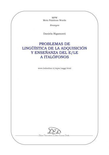 Problemas de lingüística de la adquisición y enseñanza del e/le