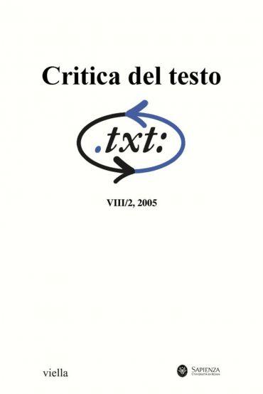 Critica del testo (2005) Vol. 8/2
